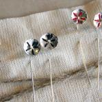 Silver poppy stalks - earrings